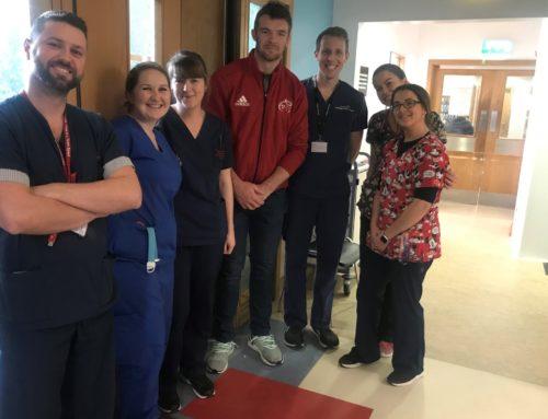 CUH Charity Ambassador Peter O'Mahony visits hospital