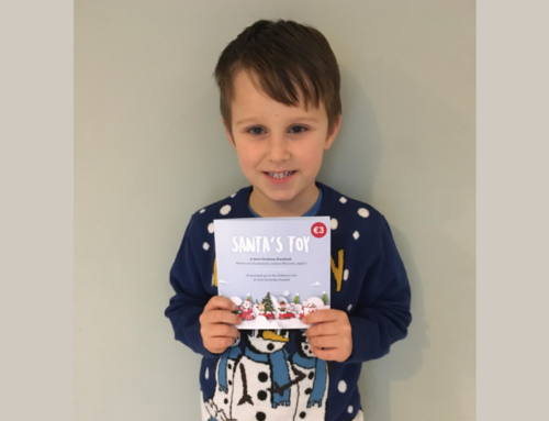 Jackson McCarthy fundraising for Children's Unit with his Christmas book 'Santa's Toy'